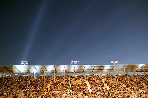 A full grandstand awaits Aerosmith's set at the Salinas Sports Complex.