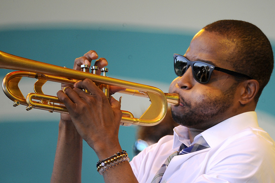Trombone Shorty plays at the 2015 Monterey Jazz Festival.