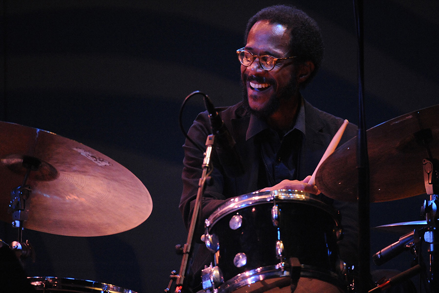 Drummer Brian Blade plays with Chick Corea at the 2015 Monterey Jazz Festival.