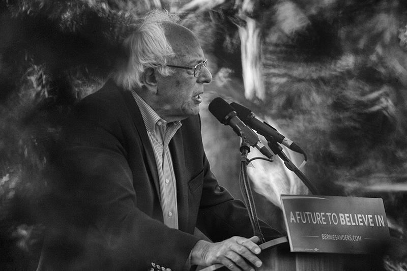 Sanders speaks to supporters in Monterey.