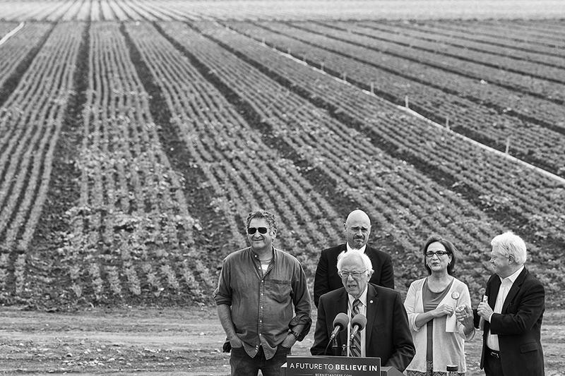 Speaking alongside anti-fracking activists, Bernie Sanders speaks at a press conference outside of the Veterans Memorial Building in Spreckels, Calif. on June 1, 2016.