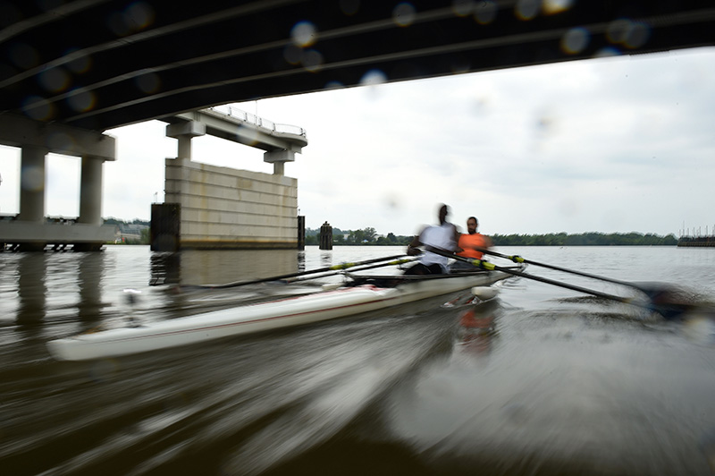 Ibrahim Onafeko and his training partner rushes through the water while training Monday June 27, 2016 in Washington D.C. on the Anacostia River.  Onafeko, is a blind competitive row boater who hopes to represent Nigeria in the Paralympics. (Photo by Christian K. Lee/The Washington Post)