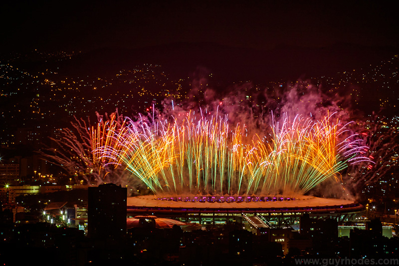 Aug 5, 2016; Rio de Janeiro, Brazil; Fireworks launch over the stadium during the opening ceremonies for the Rio 2016 Summer Olympic Games at Maracana. Mandatory Credit: Guy Rhodes-USA TODAY Sports