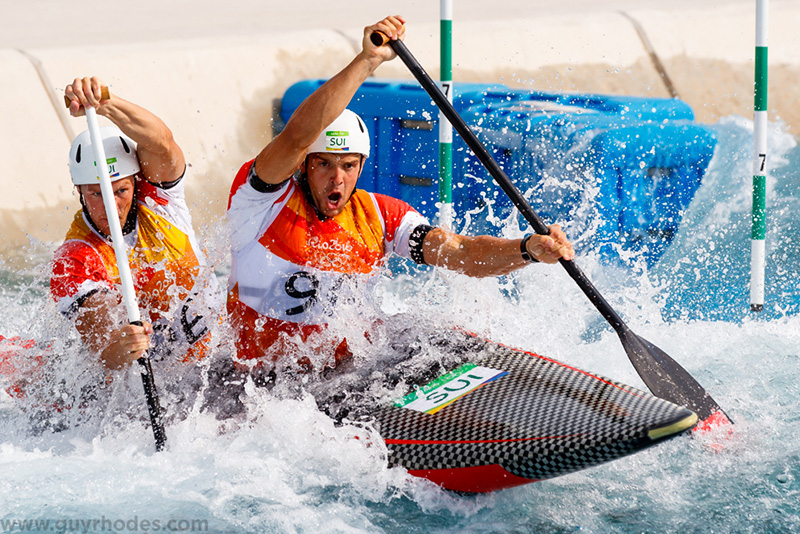 Aug 8, 2016; Rio de Janeiro, Brazil; Lukas Werro and Simon Werro (SUI) during the men's canoe double (C2) heats in the Rio 2016 Summer Olympic Games at Whitewater Stadium. Mandatory Credit: Guy Rhodes-USA TODAY Sports