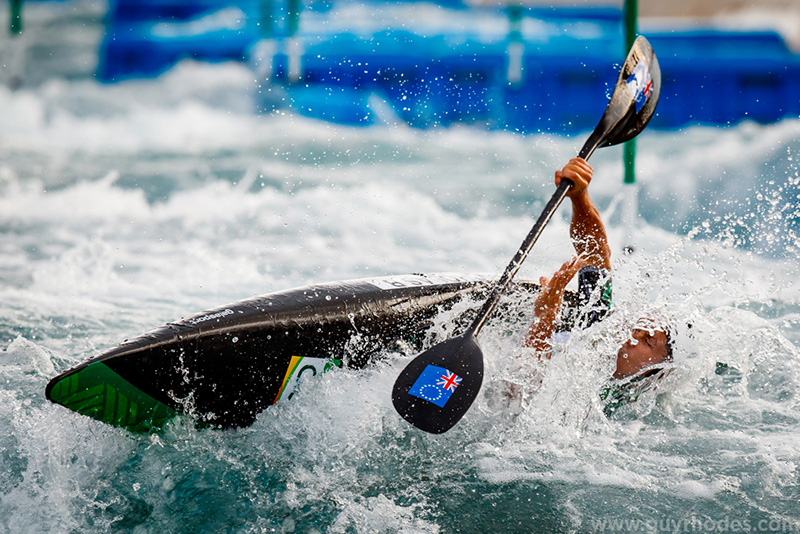 Aug 7, 2016; Rio de Janeiro, Brazil; Bryden Nicholas (COK) capsizes during the men's kayak (K1) heats in the Rio 2016 Summer Olympic Games at Whitewater Stadium. Mandatory Credit: Guy Rhodes-USA TODAY Sports