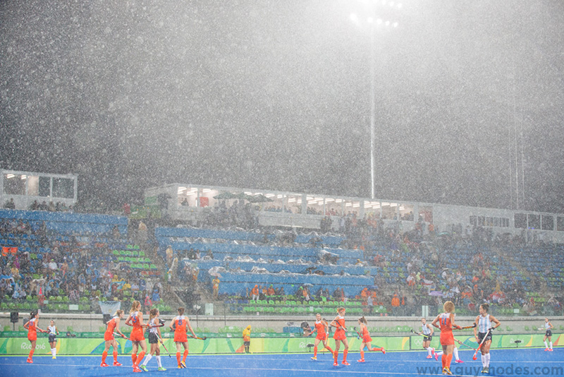 Aug 15, 2016; Rio de Janeiro, Brazil; A general view of the rain during the women's field hockey quarterfinals between Netherlands and Argentina in the Rio 2016 Summer Olympic Games at Olympic Hockey Centre. Mandatory Credit: Guy Rhodes-USA TODAY Sports