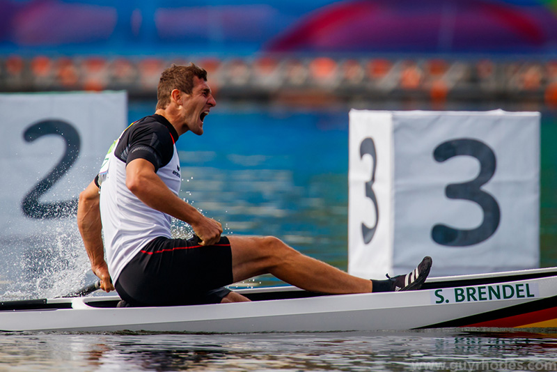 Aug 16, 2016; Rio de Janeiro, Brazil; Sebastian Brendel (GER) celebrates after winning the men's canoe single (C1) 1000m final in the Rio 2016 Summer Olympic Games at Lagoa Stadium. Mandatory Credit: Guy Rhodes-USA TODAY Sports