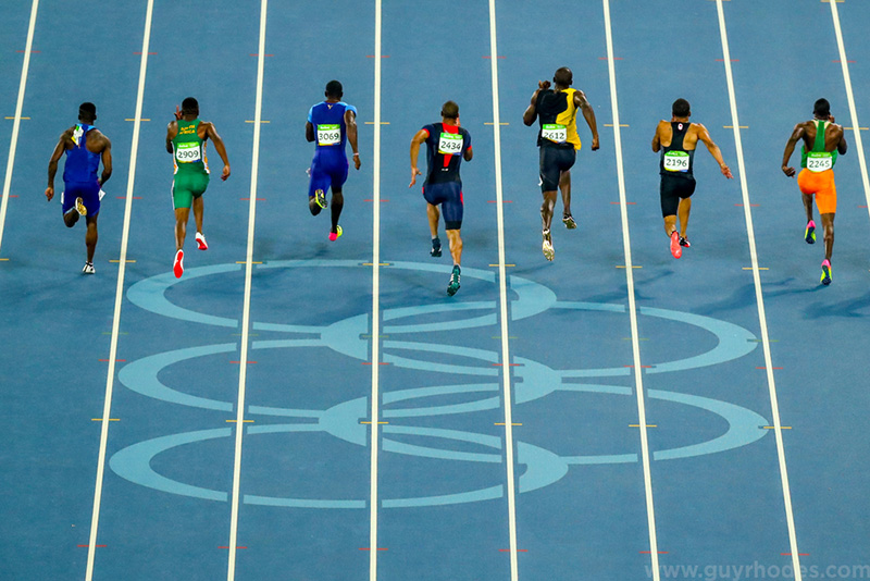 Aug 14, 2016; Rio de Janeiro, Brazil; Usain Bolt (JAM) competes in the men's 100m track and field final at Estadio Olimpico Joao Havelange. Mandatory Credit: Guy Rhodes-USA TODAY Sports