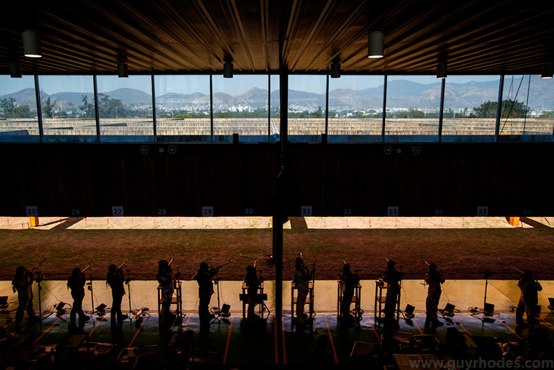 Aug 14, 2016; Rio de Janeiro, Brazil; General view during men's 50m rifle three position qualification in the Rio 2016 Summer Olympic Games at Olympic Shooting Centre. Mandatory Credit: Guy Rhodes-USA TODAY Sports