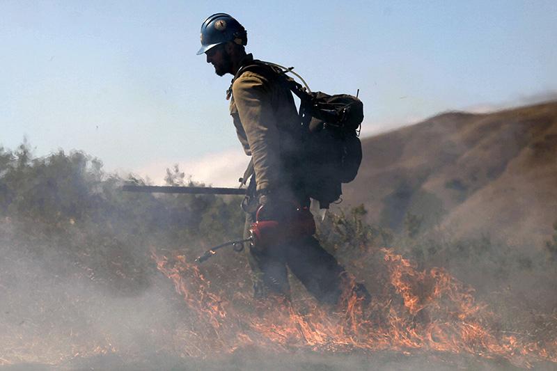 A U.S. Forest Service Hotshot back burns along Old Coast Road in Big Sur on August 8.
