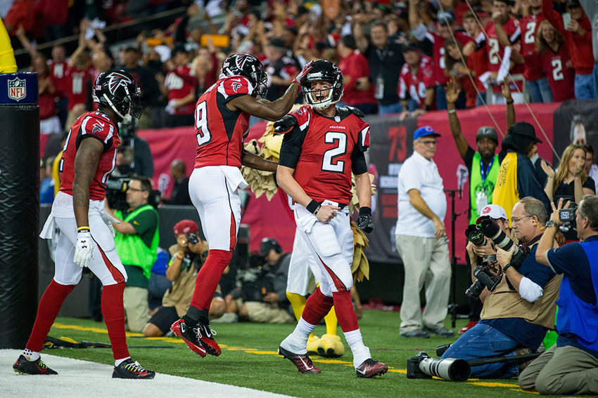 Atlanta Falcons quarterback Matt Ryan (2) during the NFC Championship against the Green Bay Packers on Sunday, January 22, 2017 at the Georgia Dome. The Falcons won 44-21, and advance to the Super Bowl. Photo by Kevin D. Liles/kevindliles.com