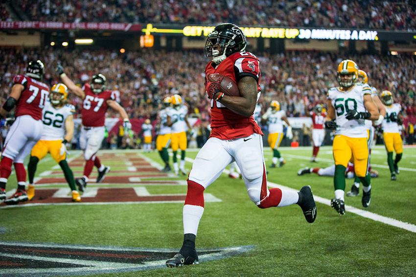 Atlanta Falcons running back Tevin Coleman (26) during the NFC Championship against the Green Bay Packers on Sunday, January 22, 2017 at the Georgia Dome. The Falcons won 44-21, and advance to the Super Bowl. Photo by Kevin D. Liles/kevindliles.com