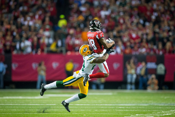 Atlanta Falcons wide receiver Taylor Gabriel (18) during the NFC Championship against the Green Bay Packers on Sunday, January 22, 2017 at the Georgia Dome. The Falcons won 44-21, and advance to the Super Bowl. Photo by Kevin D. Liles/kevindliles.com
