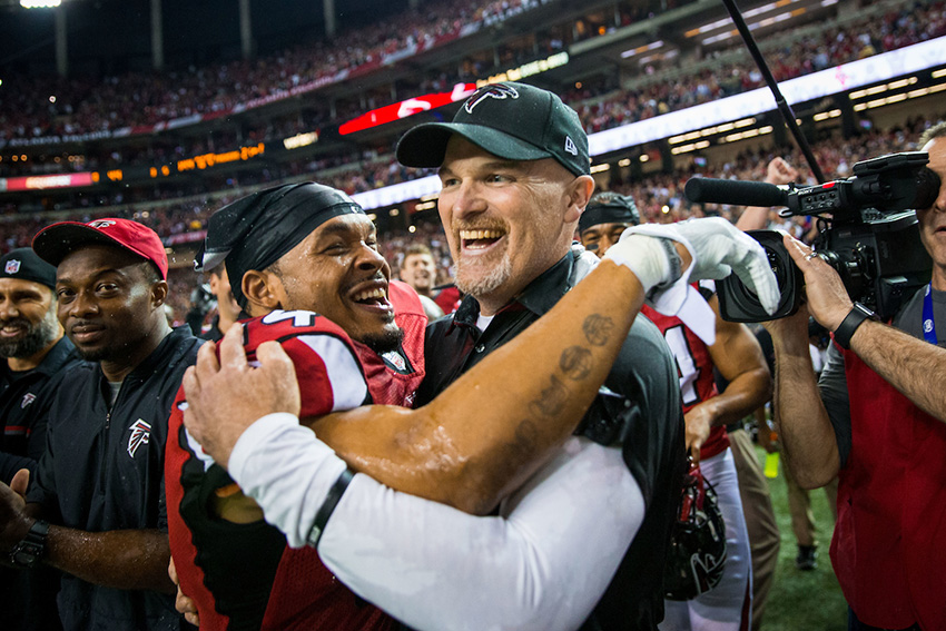 Atlanta Falcons head coach Dan Quinn and Eric Weems during the NFC Championship against the Green Bay Packers on Sunday, January 22, 2017 at the Georgia Dome. The Falcons won 44-21, and advance to the Super Bowl. Photo by Kevin D. Liles/kevindliles.com
