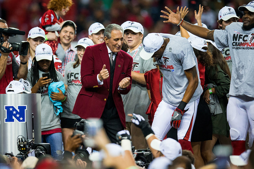 Atlanta Falcons owner Arthur Blank dances during the NFC Championship against the Green Bay Packers on Sunday, January 22, 2017 at the Georgia Dome. The Falcons won 44-21, and advance to the Super Bowl. Photo by Kevin D. Liles/kevindliles.com