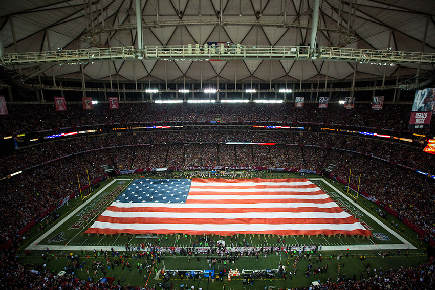 American flag prior to the NFC Championship between the Atlanta Falcons and the Green Bay Packers on Sunday, January 22, 2017 at the Georgia Dome. The Falcons won 44-21, and advance to the Super Bowl. Photo by Kevin D. Liles/kevindliles.com
