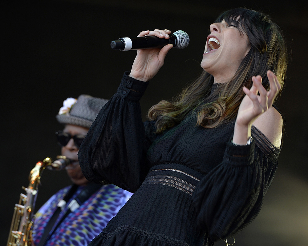 Nicki Bluhm screams while performing with the Dirty Dozen Brass Band at the 2017 Monterey International Pop Festival Celebrates 50 Years.